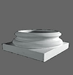 Attic base for round, tapered, plain shaft fiberglass reinforced polymer columns