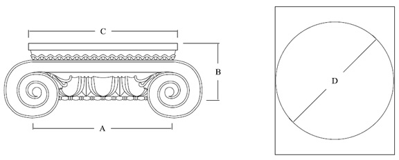 Roman Ionic capital for round FRP columns top and side view