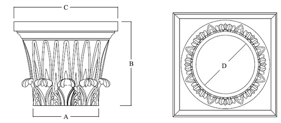 Temple of Winds Capital for Architectural Columns shown top and side view