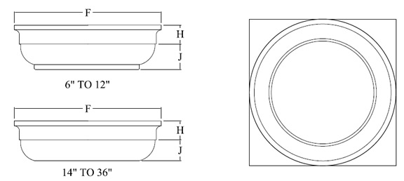 Tuscan Capital for Round FRP Column shown top and side view