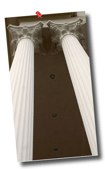 Round fluted columns made for fiberglass reinforced polymer also knows as stone polymer