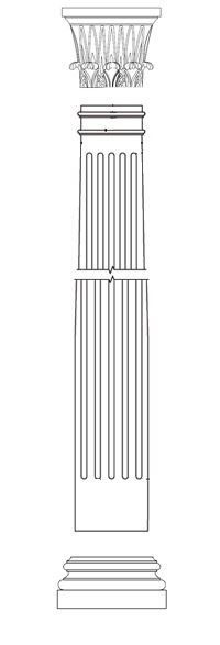 A round FRP fluted column with Temple of Winds capital and Attic base available from CheapColumn.com