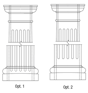 Options for finishing the bottom of fluted columns