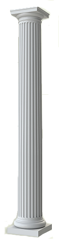 Round FRP fluted 12 inch by 8 foot column with Tuscan capital and base available from CheapColumn.com for $241