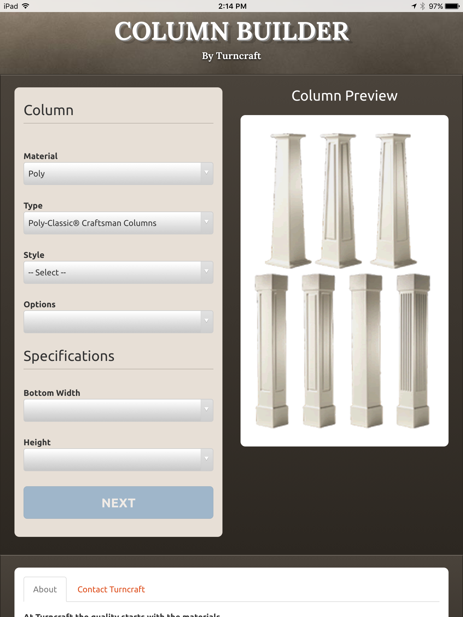 Turncraft Column Builder App